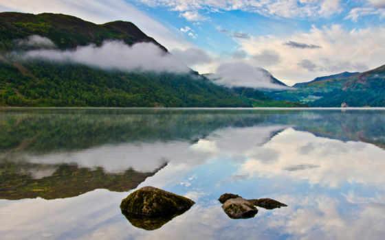 гора, озеро, камень