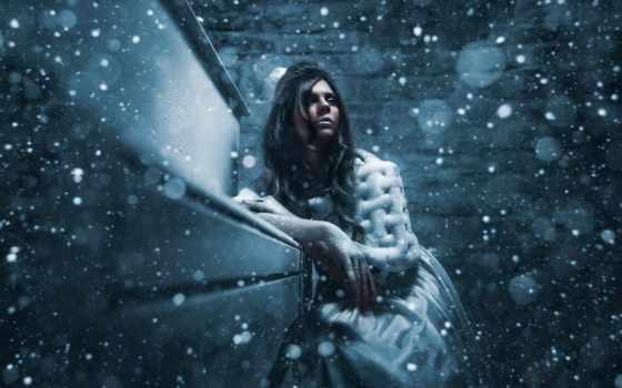 снег, девушка, installation, обстановка, android, весна, engine