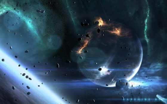 космос, blue