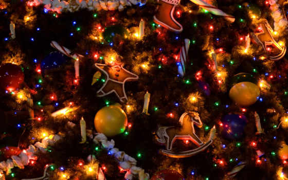 дерево, new, год, christmas, наряженная,