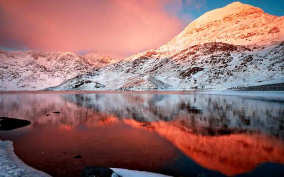 горы, озеро, снег