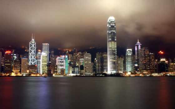 гонконг, kong, hong, ночь, города, visa, город, огни, бесплатные,