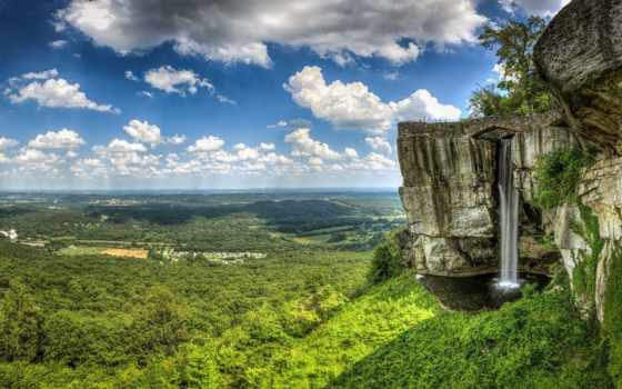 город, break, небо, взгляд, height, oblaka, landscape, сверху, rock, горы, водопад,