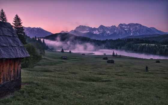 горы, природа, долина, house, landscape,