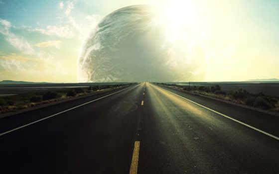 дорога, distance, sun, горизонт, небо, уходящая, planet, landscape, уходит,