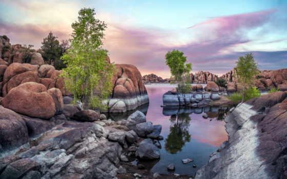 arboles, piedras, аль, pantalla, rio, del, lado, fondos,