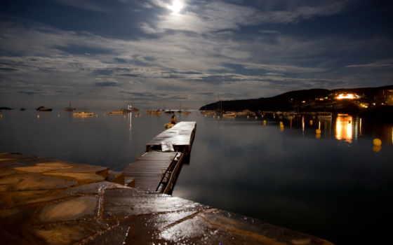 причал, ночь, отражение, красивые, мост, озеро, широкоформатные, большие, бесплатные, телефон,