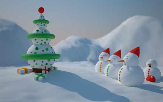 снеговики, снеговик, рождество