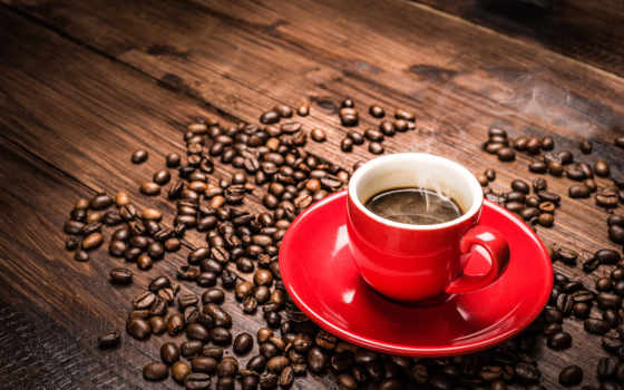 cup, coffee, красная, зерна, red, блюдце, steam,