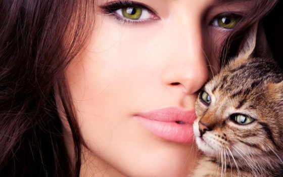 devushka, мар, котёнком