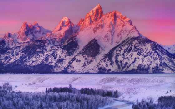 grand, teton, national, park, река, wyoming, snake, mountains, overlook, alpenglow,