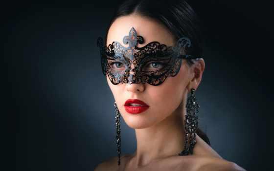 девушка, маске, макияж, маска, черной, картинка, portrait, маски, красивая, помада, red,