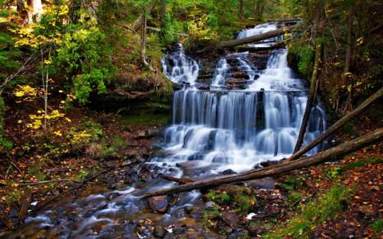 водопад, каскад, trees, природа, лес, water, осень, скалы, rocks,