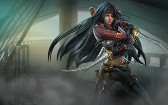 пиратка, девушка, кинжалы, league, legends, ножи, повязка, туман, оружие,