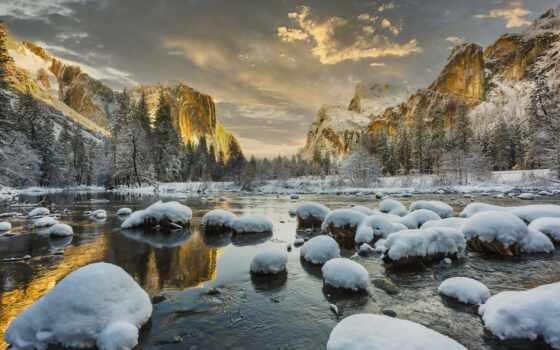 снег, озеро, scenery, winter, камень, ipad, природа, cover, гора