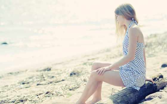 девушка, пляж, море Фон № 60383 разрешение 1920x1080