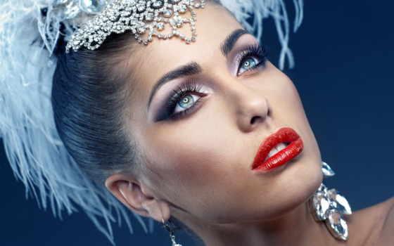 devushka, лицо, макияж, губы, дівчина, красные, голове,
