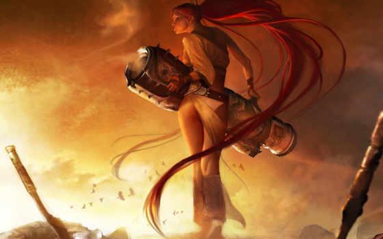 девушка, меч, heavenly