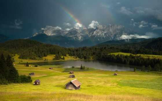 природа, горы, радуга, positive, девушка, широкоформатные, германии, german, water,