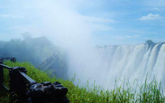 una, fondos, cascadas, falls, waterfalls, мост, pantalla,