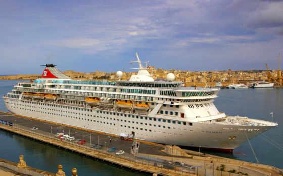корабли, лайнер, море, картинка, небо, лодка, piers, корабль, причал, cruise, рисованные,