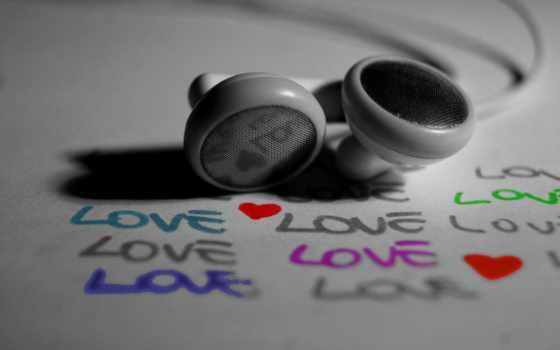 headphones, love, надпись, макро, маленькие, пищалки, чёрно, белое,