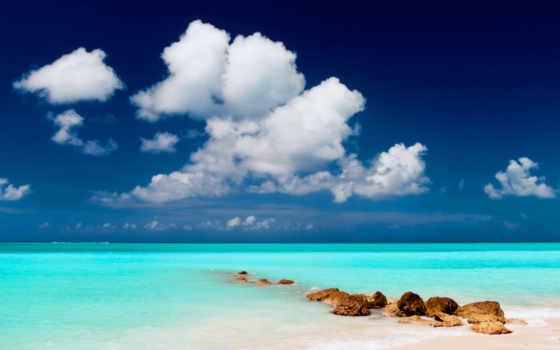 пляж, море, песок, небо, oblaka, landscape, water, камни, природа,