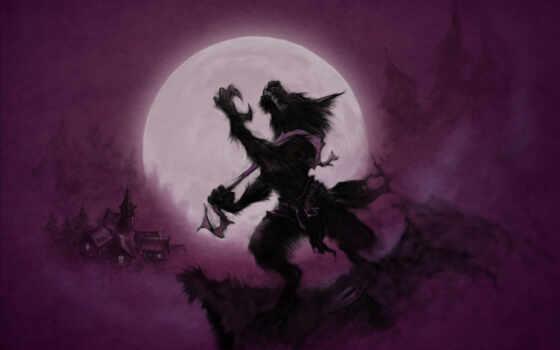 werewolf, луна, drawing, вой, волк, skazka, see, единорог, фон, девушка, purple