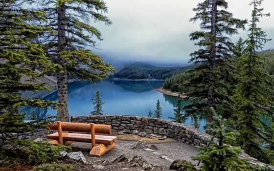 taiga, озеро, скамейка, природа, trees, горы, страница, высоком,