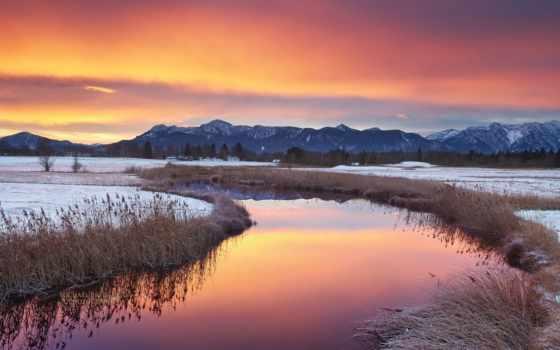 природа, горы, озеро, качества, пейзажи -, хорошего, качество, высокое, winter, red,