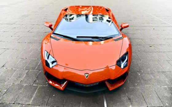 lamborghini, фронтовой, aventador, оранжевый, rims, more, ауди,