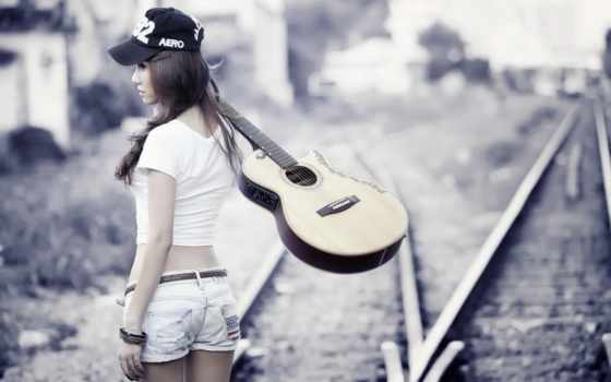 девушка, рельсах, гитара, музыка, devushki, гитарой, are, гитаре,