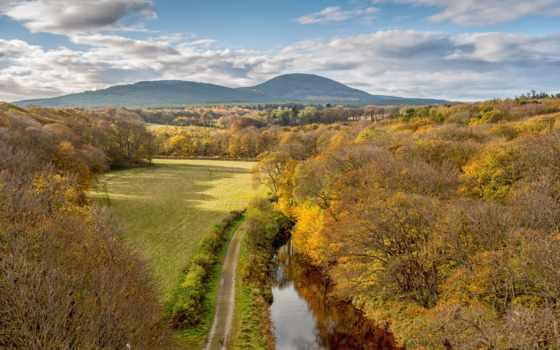 небо, лес, пейзажи -, поле, landscapes, дорога, осень, trees, oblaka, горы,