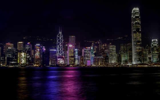 ночь, kong, небоскребы