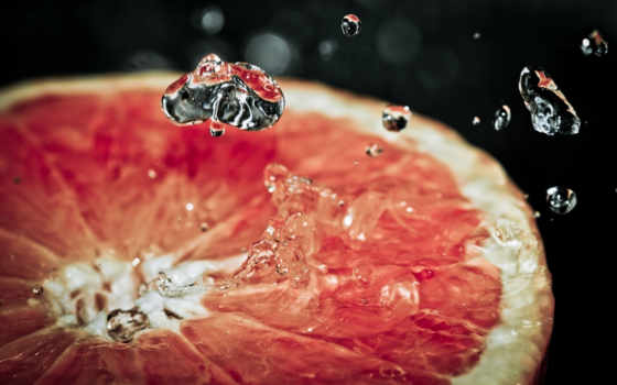 grapefruit, slice, macro