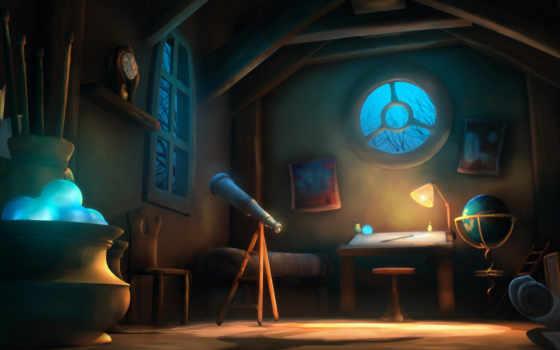 telescope, окно, комната
