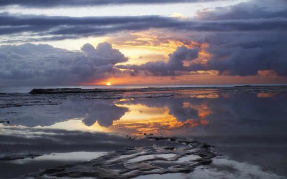 рассвет, австралия, утро, небо, sun, тучи, ocean, oblaka,