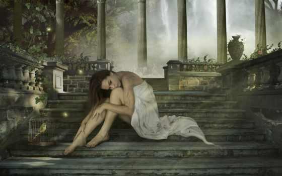 девушка, лестница, лес, ступеньки, разное, лестнице, фотообои, колоны, devushki,