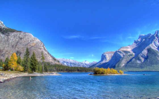 lago, minnewanka, banff, альберта, descargar, gratis, озеро, fondos, pantalla, nacional, parque,