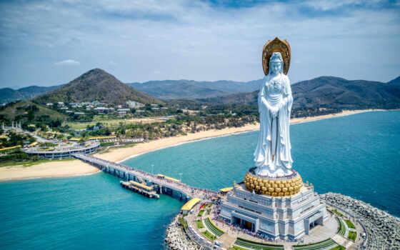 guanyin, nanshan, статуя, sanya, hainan, огромный, china, мост, guaninii, гора