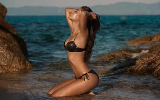 , девушка, мокрая, купальник, волны, море,
