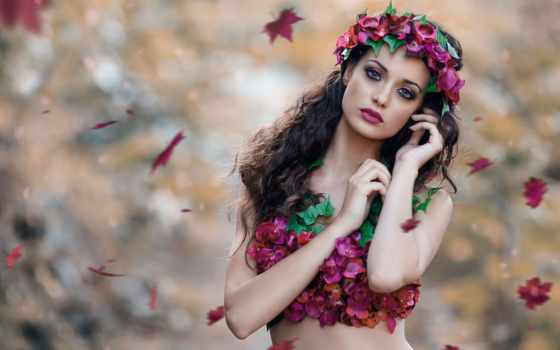 девушка, венок, cicco, alessandro, ди, осень, листва, desire, картинка,
