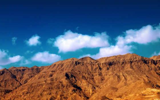 небо, природа, горы, oblaka, закат, голубое, sands, пустыни, скалы, гора, rising,