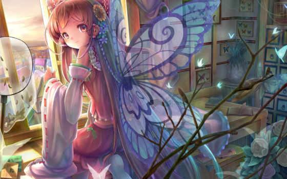 reimu, hakurei, touhou, hair, бабочки, крылья, цветы, девочка, butterfly, fairy, anime, wings, комната, сидя, окно, картинка, книга, улыбка, sanntouhei, desktop,