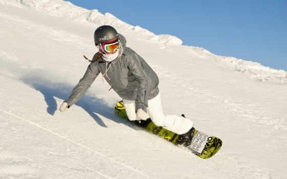 сноуборд, девушка, снег