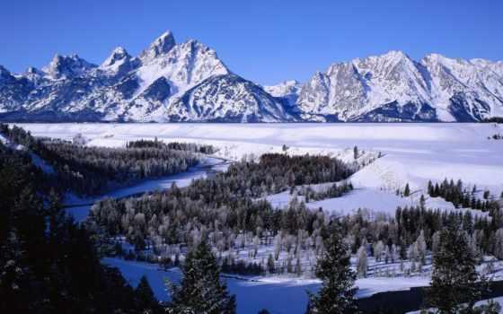 winter, снег, горы, картинка, леса, лес, река,