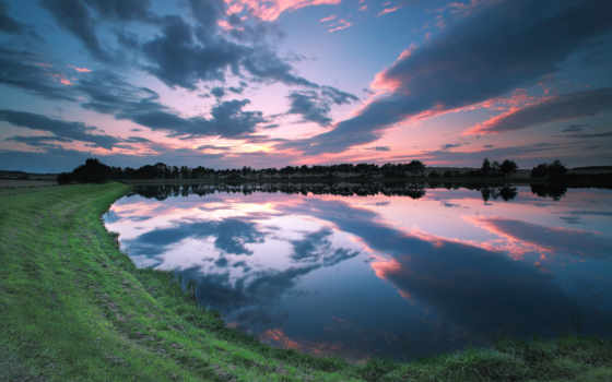 озеро, небо, закат, берег, англия, ук, scenery, clouds,