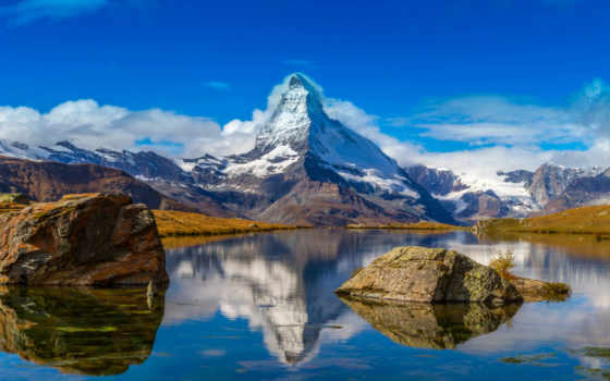 альпы, swiss, маттерхорн, гора, небо, озеро, снег, горы,