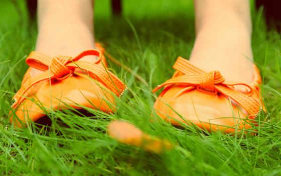 туфли, трава, ноги