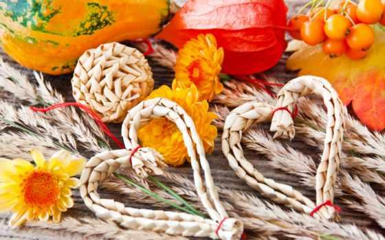 cvety, осень, хризантемы, листва, тыква, сердечки, производить, украшения, солома, сердца, картинка,